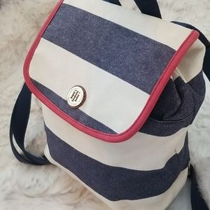 Tommy Hilfiger Canvas Navy White Mini Backpack bag
